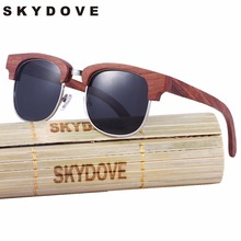 SKYDOVE  Semi-Rimless Wooden Sunglasses Men Polarized Rose Round  Wood Sunglasses Men 2018 Women Bamboo Wood Sunglasses