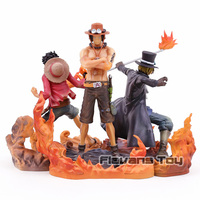 Banpresto One Piece DXF Brotherhood II Luffy Ace Sabo Brother Fighting Ver PVC Action Figures Collectible Model Toys 3pcs/set