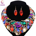 African Costume Jewelry Sets Gold Plated Fashion Wedding Women Bridal Accessories Rhinestones Crystal Earring Necklace Set