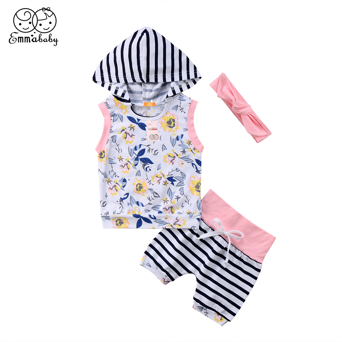 Summer new casual Newborn Infant Baby Kid Girls sleeveless Floral printed striped patchw ...