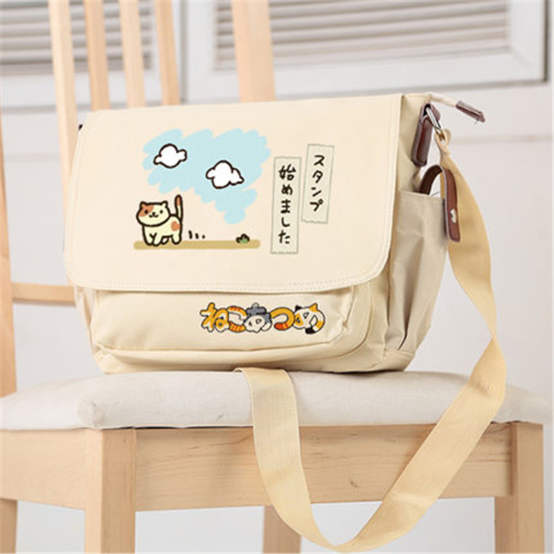 2017 New Neko Atsume Kawaii Cat Canvas School Bags Lolita Crossbody Bags for Women Cute Shoulder Bags Women Messenger Bags юбка arw amo amavel fint ank axes april cat lolita sk