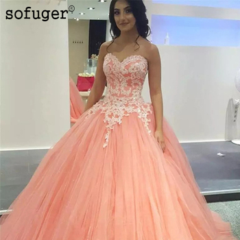 Organge Sweetheart Sofuge Tulle Strapless Appliques Ball Gown Puffy Pleat Quinceanera Dresses Debutante Vestido 15 Anos Festa