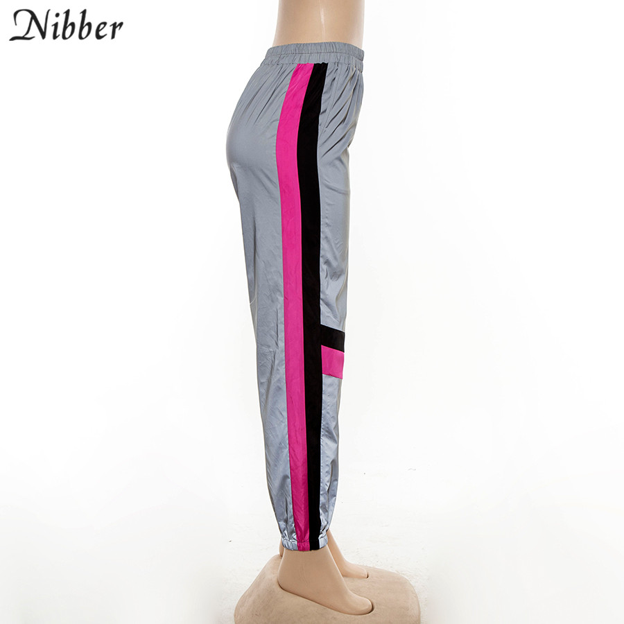 Nibber Spring Reflective Cargo Pants Women Casual Harem Pants2019pop Shining High Street Active Wear Ladies Patchwork Loose Pans