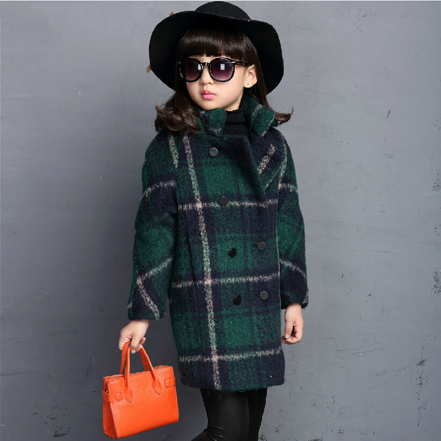 girls wool coats 2016 new autumn winter plaid jacket coat long design standed collar double breasted children woolen trench coat