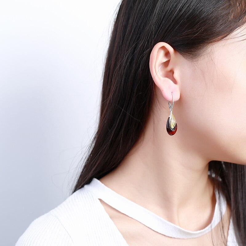 JIUDUO European And American Vintage Style Amber Fashion 925 Sterling Silver Drop Earrings серьги висячие vintage style pentacle earrings