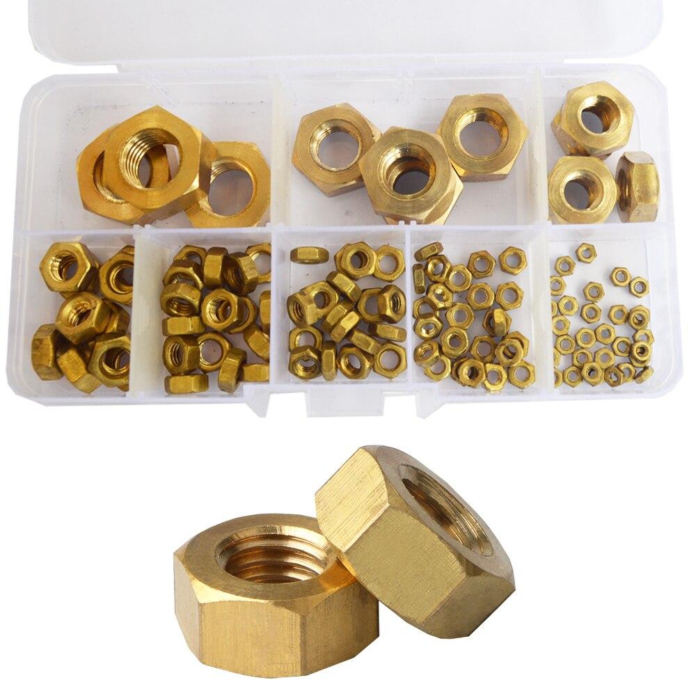 Brass Hex Metric Nuts Metal Threaded Hexagonal Copper Nut Set Assortment Kit M2 M3 M4 M5 M6 M8 M10 M12 M14