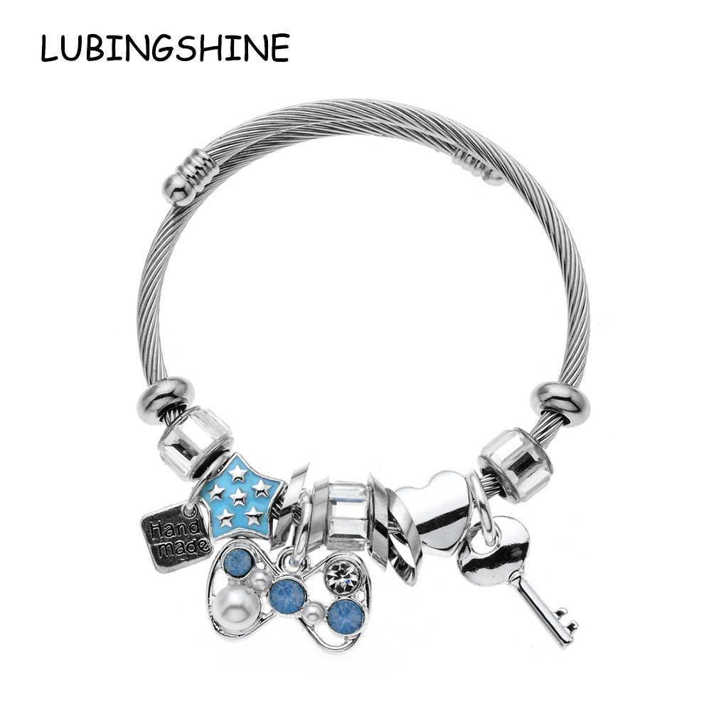 LUBINGSHINE European Stainless Steel Adjuestable Charm Bangle DIY Pendant Fit Original Brand Bracelets Jewelry For Women Gifts