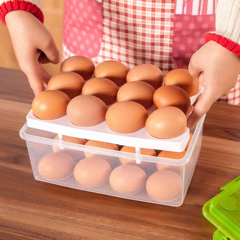 AHTOSKA Double Layer Egg Storage Box With 24 Grids Kitchen Food Container And Organizer Convenient Kitchen Storage Box