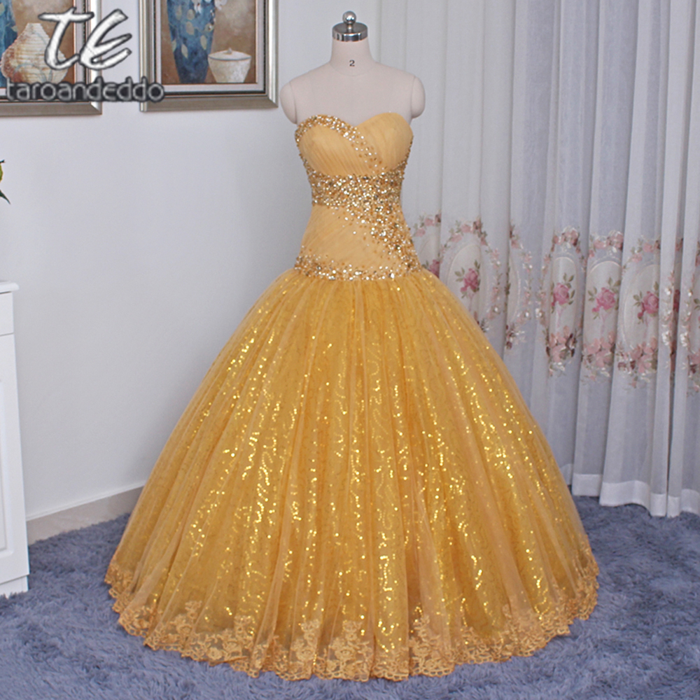 Strapless Gold Sequin and Tulle Beading Ball Gowns Prom Dress Corset ...