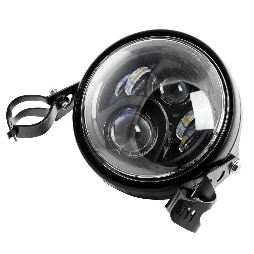 7 inch round motorcycle headlight headlamp with black housing 7 Headlight Motorcycle H4 Black 7in. Side Mount Headlight Shells