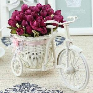 Image 5 - 실크 꽃과 등나무 자전거 꽃병 다채로운 미니 장미 꽃 꽃다발 데이지 인공 플로레스 홈 웨딩 장식