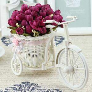 Image 5 - Rotan Fiets Vaas Met Zijden Bloemen Kleurrijke Mini Roos Bloem Boeket Daisy Kunstmatige Flores Voor Thuis Bruiloft Decoratie