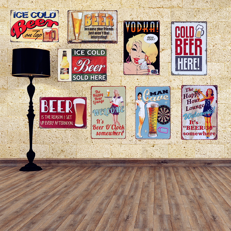 Drink Beer Bottles Vintga Tin Signs Club Bar Coffee House Wall Poster Wall Decoracion Vintage Hogar Metal Signs signs