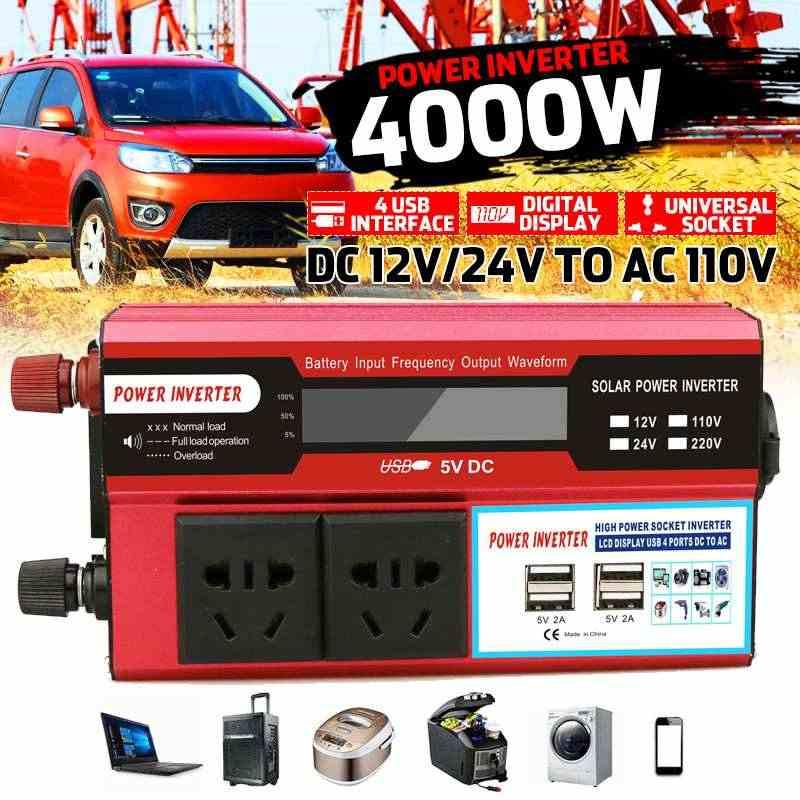 KROAK 4000 W 4 inversor de corriente USB DC12/24 V a la CA de 110 voltios adaptador de coche convertidor de carga LCD pantalla de onda sinusoidal modificada de transformador