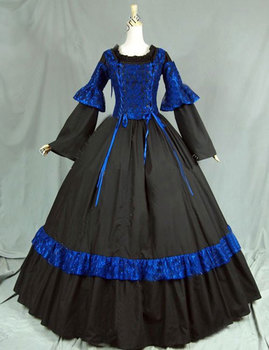 Classic Retro Black and Blue Gothic Victorian historical  Dress Costume Bow Period Party Ball Gowns For Halloween