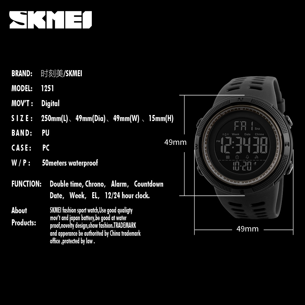 SKMEI Relogio Masculino Mens Watches Luxury Sport Army Outdoor 50m Waterproof Digital Watch Military Casual Men Wristwatches New 4