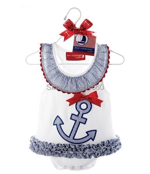Cute Anchor Baby Grow Sleeveless Bodysuit Onesie Jumpsuit Dress Skirt