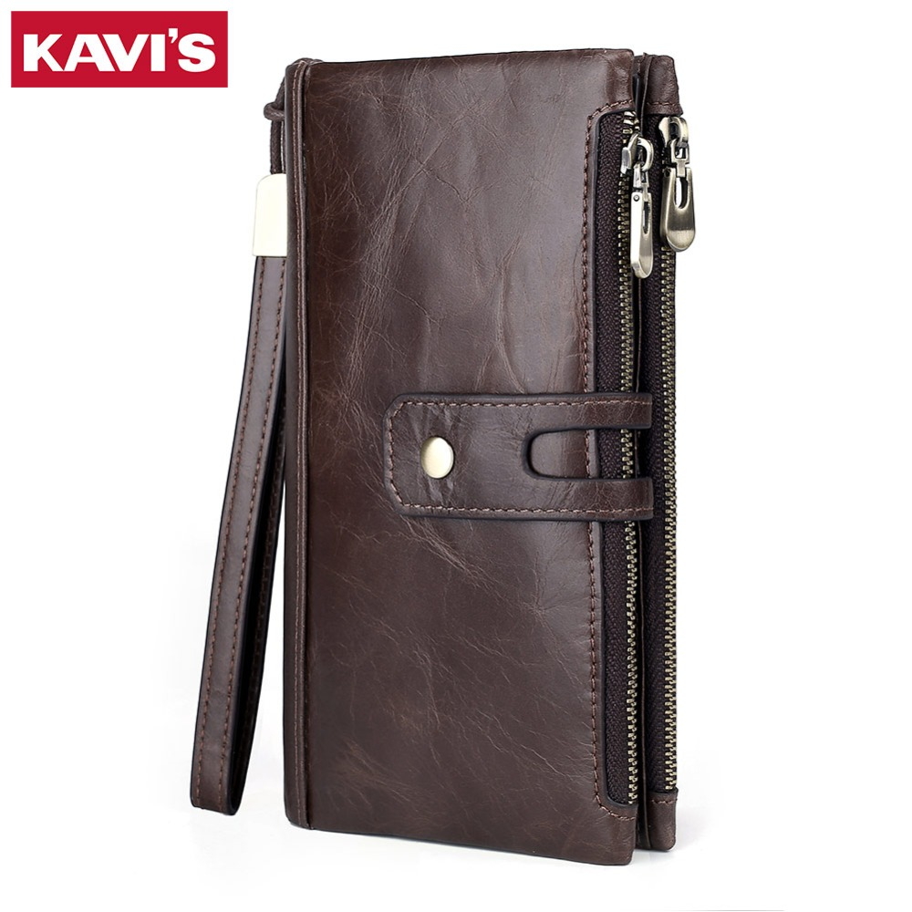 KAVIS New Genuine Leather Men Wallet Male Cell Phone Clutch Coin Purse Walet Portomonee PORTFOLIO Clamp For Money Bag Handy Long недорого