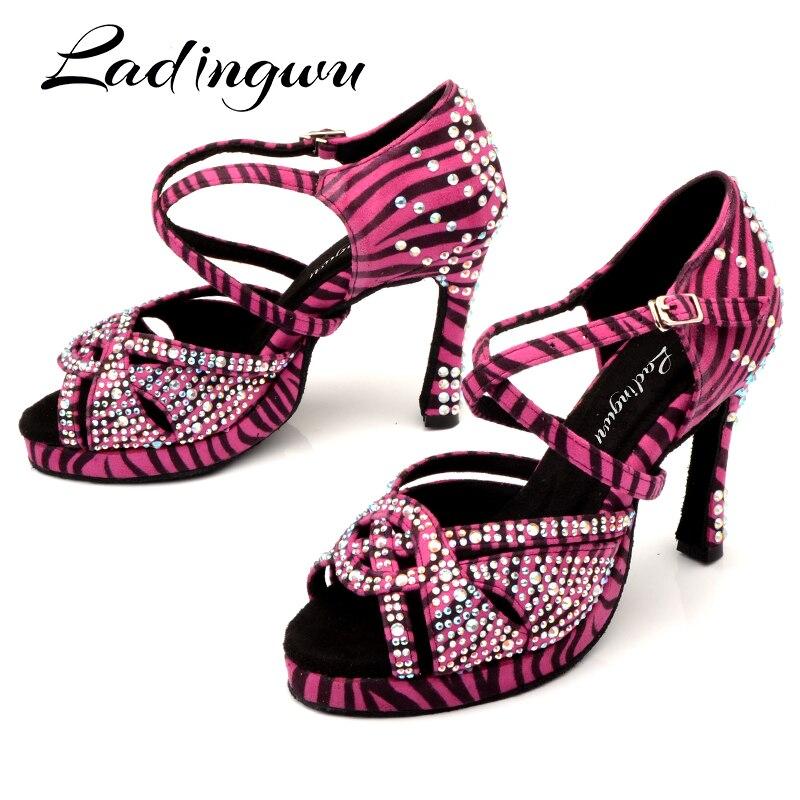 Ladingwu Platform Latin Dance Shoes Women Rose Zebra Texture Salsa Dance Shoes Ladys Suede Ballroom Paty Wedding Shoes Dancing