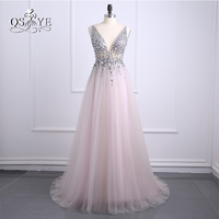 Sexy side split prom dresses 2017 deep v neck backless bead crystal party gowns sleeveless sweep.jpg 200x200