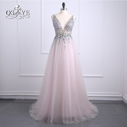 Sexy side split prom dresses 2017 deep v neck backless bead crystal party gowns sleeveless sweep.jpg 250x250