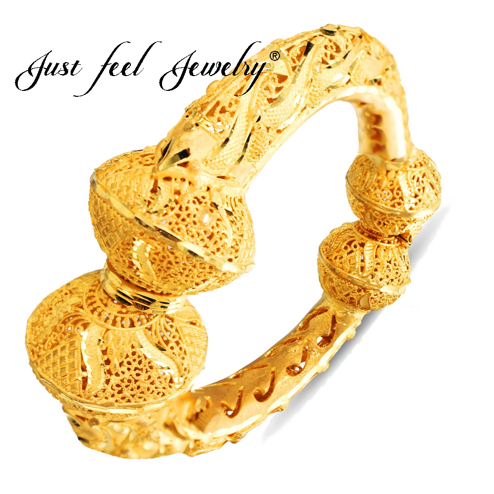 JUST FEEL Openable Screw Dubai Gold Color Bangles Adjustable Wide Bowknot Bracelet For Women African India Middle East Jewelry