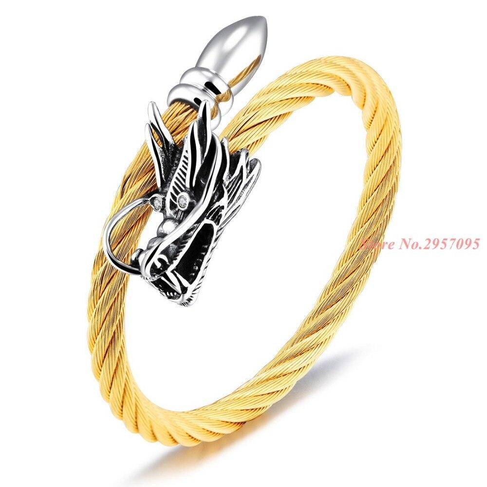 Coole Männer Double Dragon Köpfe Manschette Armbänder Silber Gold ...