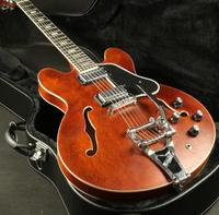 Vintage Brown ES 335 Semi Hollow Body Electric Guitar Bigsby Bridge Stain Finish Ebony Fingboerd Mother Of Pearl Inlay