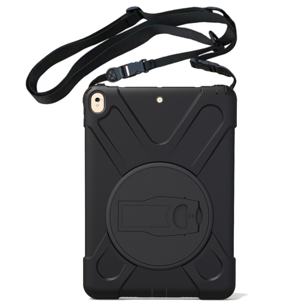 For Apple Ipad Pro 10.5 A1701,A1709 Kids Case Heavy Duty Shockproof Armor Skin Silicon+PC Rubber Stand Back Cover Shoulder Strap