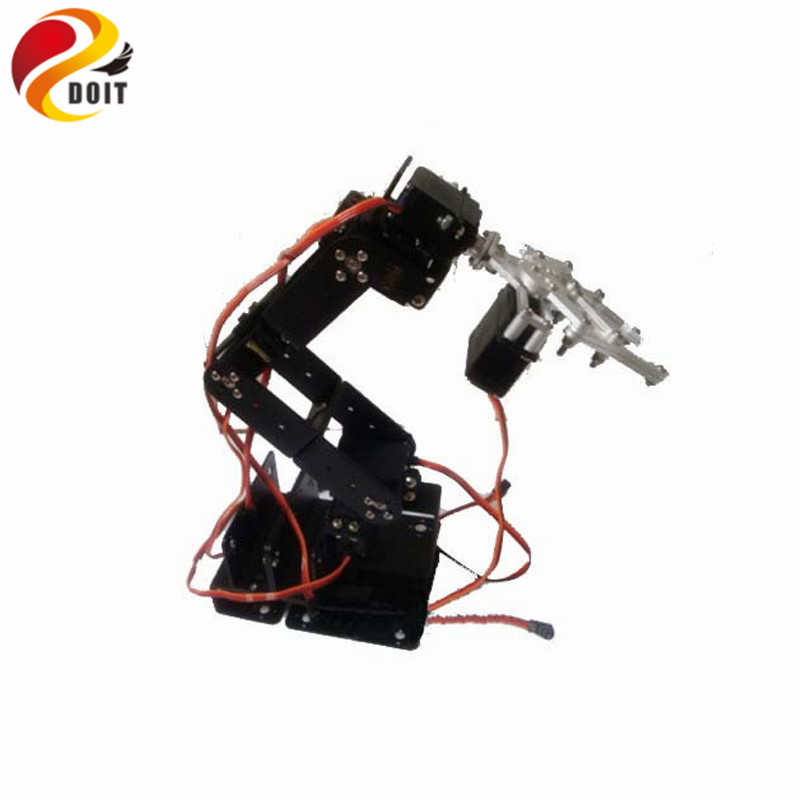 DOIT 6DoF Robot Arm+ Mechanical Claw+Large Metal Base Full Metal Mechanical Manipulator/ Servo by ESPduino Kit symmetric grasping large clamp mechanical robot claw manipulator gripper metal aluminum hand grips paw w ldx 335mg servo