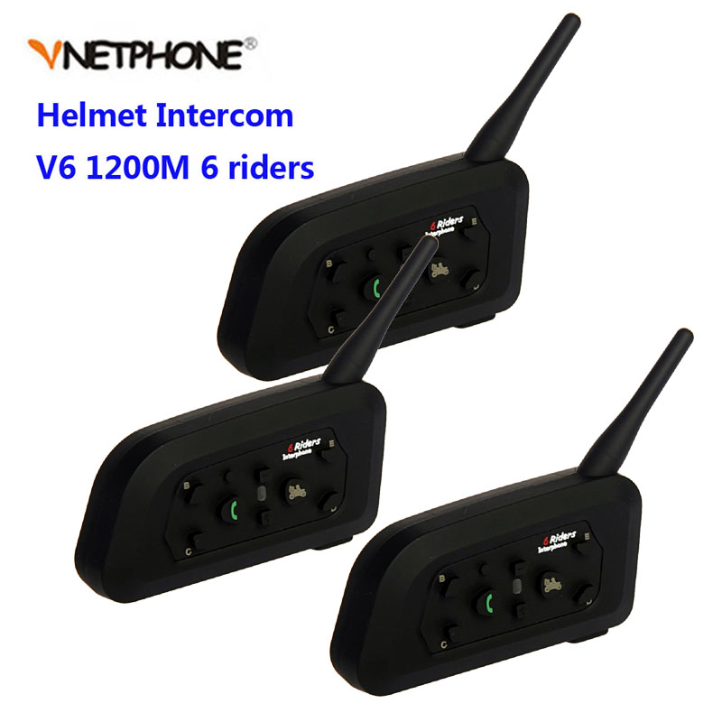 Vnetphone 3pcs V6 Motorcycle Helmet Bluetooth Headset Intercom 6 Riders 1200M Wireless Intercomunicador BT Interphone
