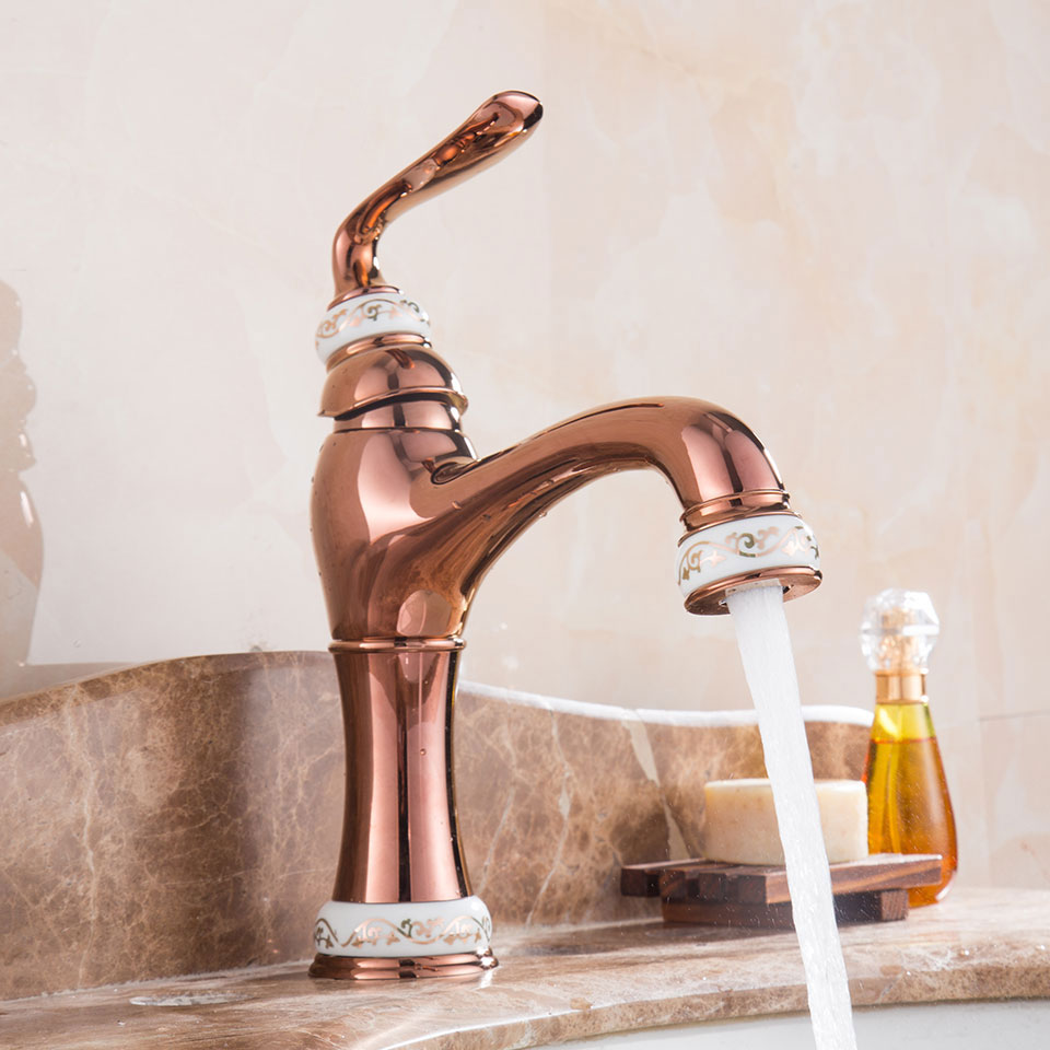 popular rose gold kitchen faucet buy cheap rose gold kitchen rose gold vacuum coating brass basin faucet jade mixer cold and hot kitchen faucet bathroom faucets rose gold water tap torneira