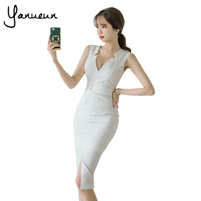 e23d5bcb3a1a Yanueun Korean Fashion Women Striped Pencil Dress Summer Sexy Office Lady  Front Split Bodycon Dresses Cut Out Midi Dress