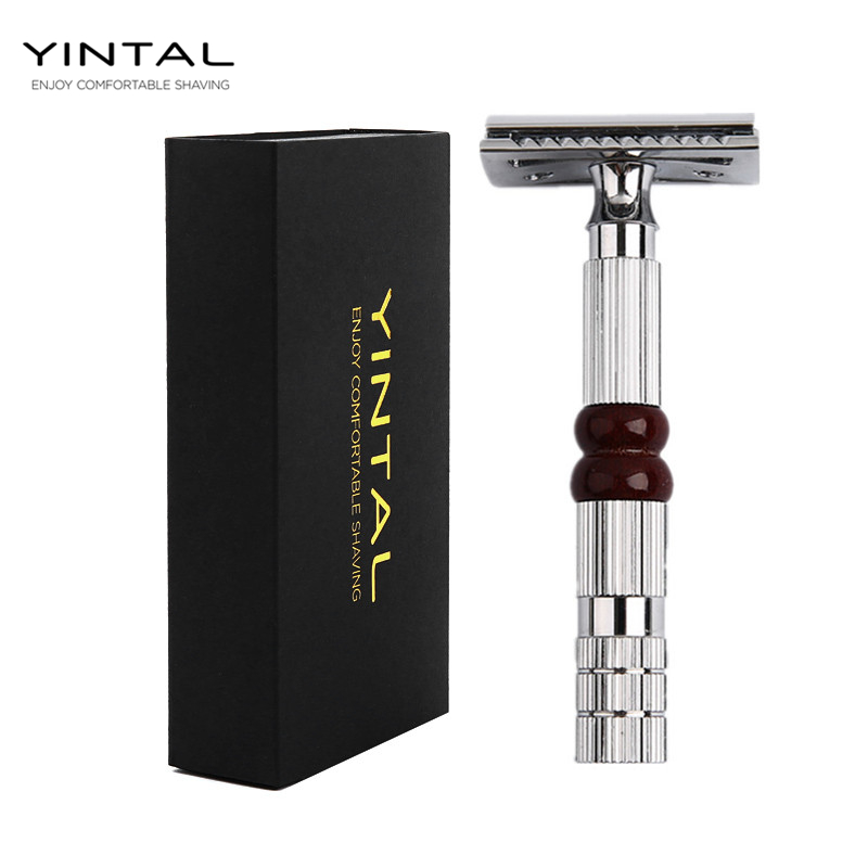 YINTAL NEW 1 Razor 10 Blades Classic Men Razors For Shaving Safety Razor Manual Double Edge Razor razors for shaving men double edge razor bright brass blade replaceable chrome manual classic safety razor