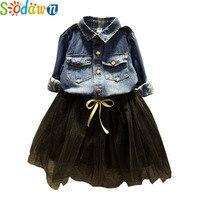 Sodawn 2017 Autumn Girls Clothing Sets Fashion Long Sleeved Denim Shirt Net Yarn Dress Suit Children