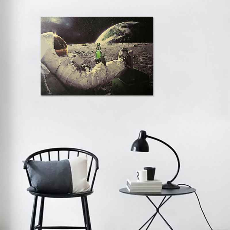 Astronaut on the Moon Relaxing with Beer Retro Fantasy Kraft Paper Poster Home Decor Art Wall Sticker Paster