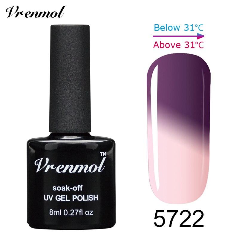 Vrenmol, 1 шт., меняющий цвет, замачиваемый УФ-гель, цвета, лак Verniz, Термальный, меняющий настроение, Гель-лак для ногтей - Цвет: 5722