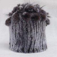 ของผู้หญิงฤดูหนาวหมวกเร็กซ์ขนกระต่ายหมวกKnittดอกไม้Beanies BonnetsและHeaddressesหญิงจริงขนหมวกหมวกสำหรับผู...