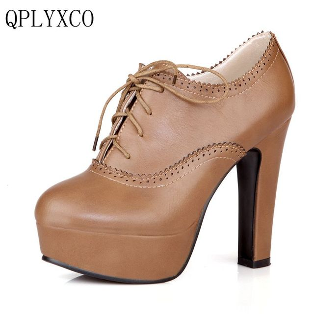 Women Synthetic Leather High Heels Lace up Platform Pumps Shoes Size 31-47