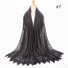 1PC New cotton Fashion lace scarf hijab floral embroidery and shinny beach long muslim autumn wrap scarves/shawls