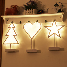 Creative Star Love Christmas tree shape Night Light LED table lamp for girl baby kids bedside decoration lamp gifts rose flower table lamp wedding decoration led night light heart shape luminaria bedside desk lamp for holiday christmas gift