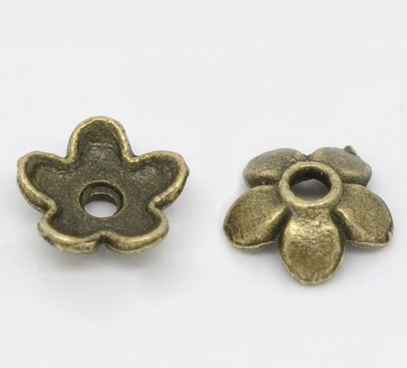 Zinc Metal Alloy Beads Caps Flower Antique Bronze(Fits 8mm-14mm Beads)Flower Pattern 6.5mm X 6.5mm ,70 PCs New