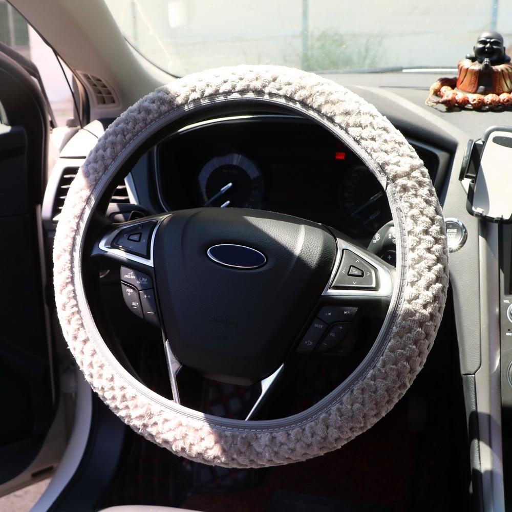 Universal Car Steering Wheel Cover Winter Soft Warm Plush ...