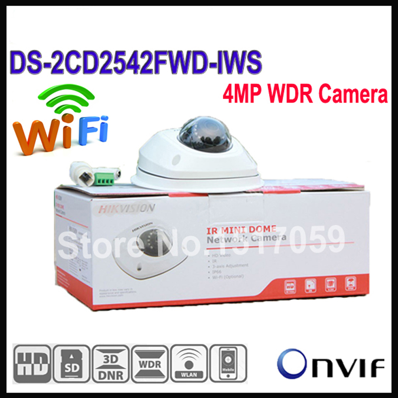 Hikvision Wifi Camera Outdoor DS-2CD2542FWD-IWS Audio 4MP WDR Mini Dome IP Network Camera, P2P wireless cctv camera POE hikvision ds 2cd2442fwd iw wifi camera 4mp ir cube wireless ip camera poe ip camera baby monitor wireless security cam