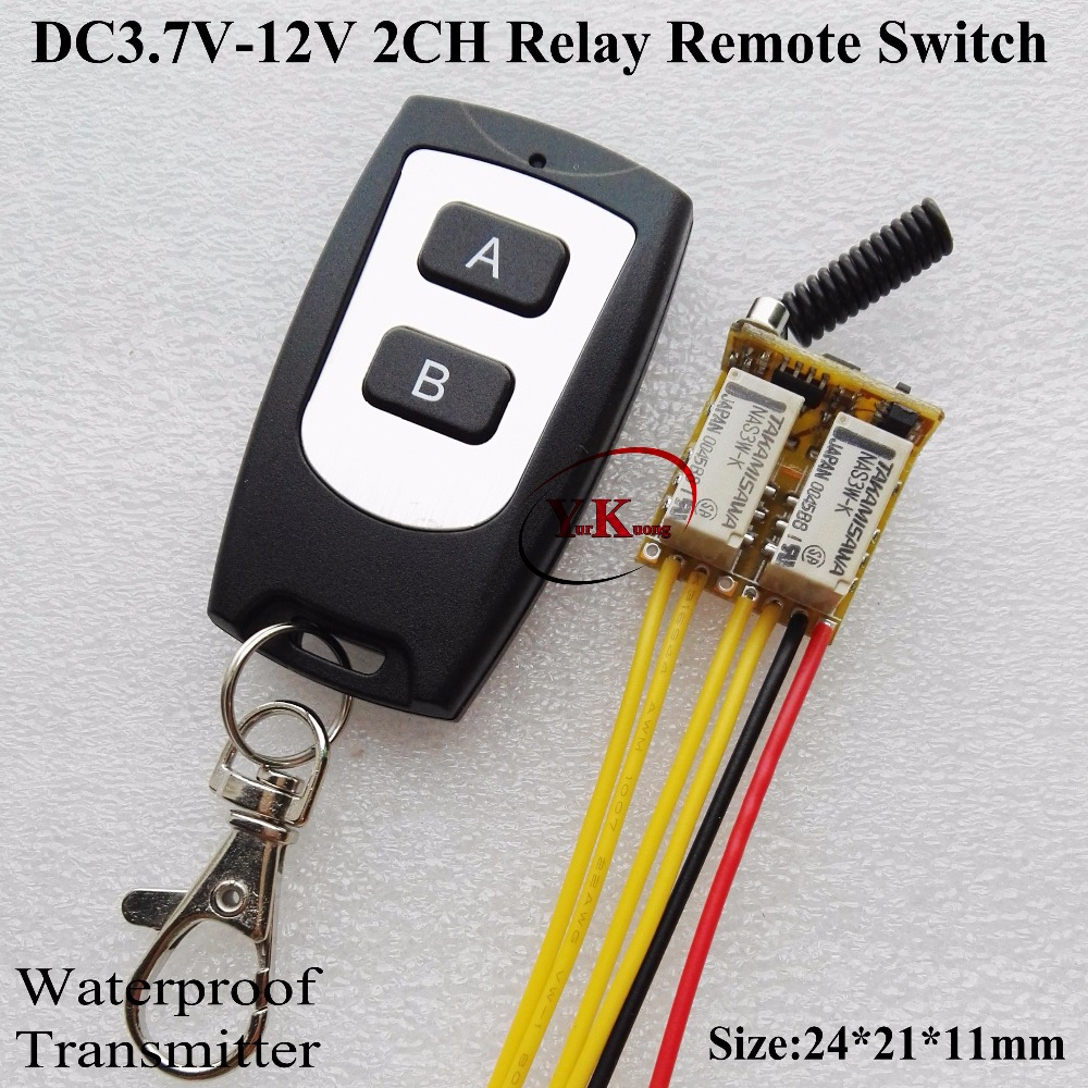 Micro Relay Remote Switch 4.2V 4.5V 5V 6V 7.4V 8V 9V 12V 2CH 2A NO COM NC Contact Switching Wireless Switch ASK Momentary Latche dc 12v relay remote switch no com nc contact wireless switch 2a relay rf rx normally open close lithium aaa battery supply ask