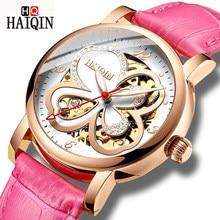 537be77918c8 HAIQIN esqueleto mujer reloj mecánico marca de lujo señoras cuero vestido  reloj impermeable mujer automático reloj