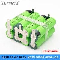 4s2p battery 18650 pack ncr18650b 6800mah 16.8v 14.4v welding solder battery for screwdriver tools battery customized battery