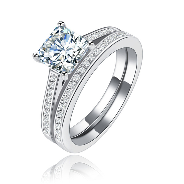 Shuangr Vintage Style 1 Ct Created Crystal Silver Color 2 Pc Wedding Anniversary Engagement
