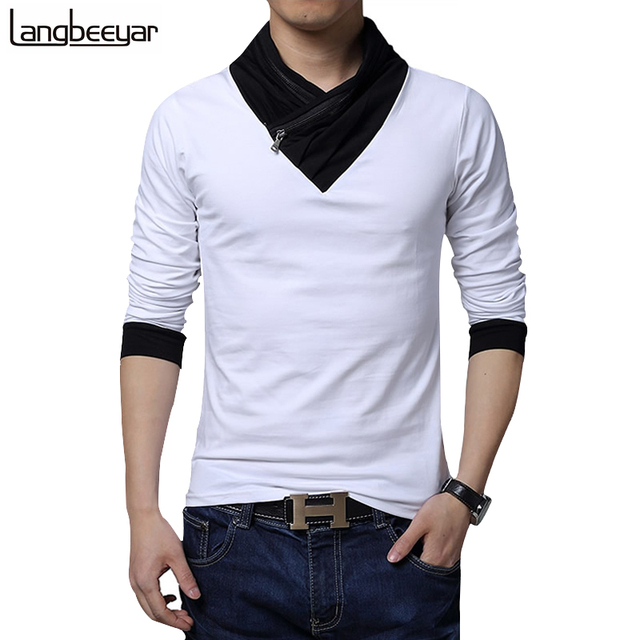 HOT SALE 2017 New Fashion Brand Irregular Collar Slim Fit Long Sleeve T Shirt Men Trend Casual Men T-Shirt Cotton T Shirts M-5XL