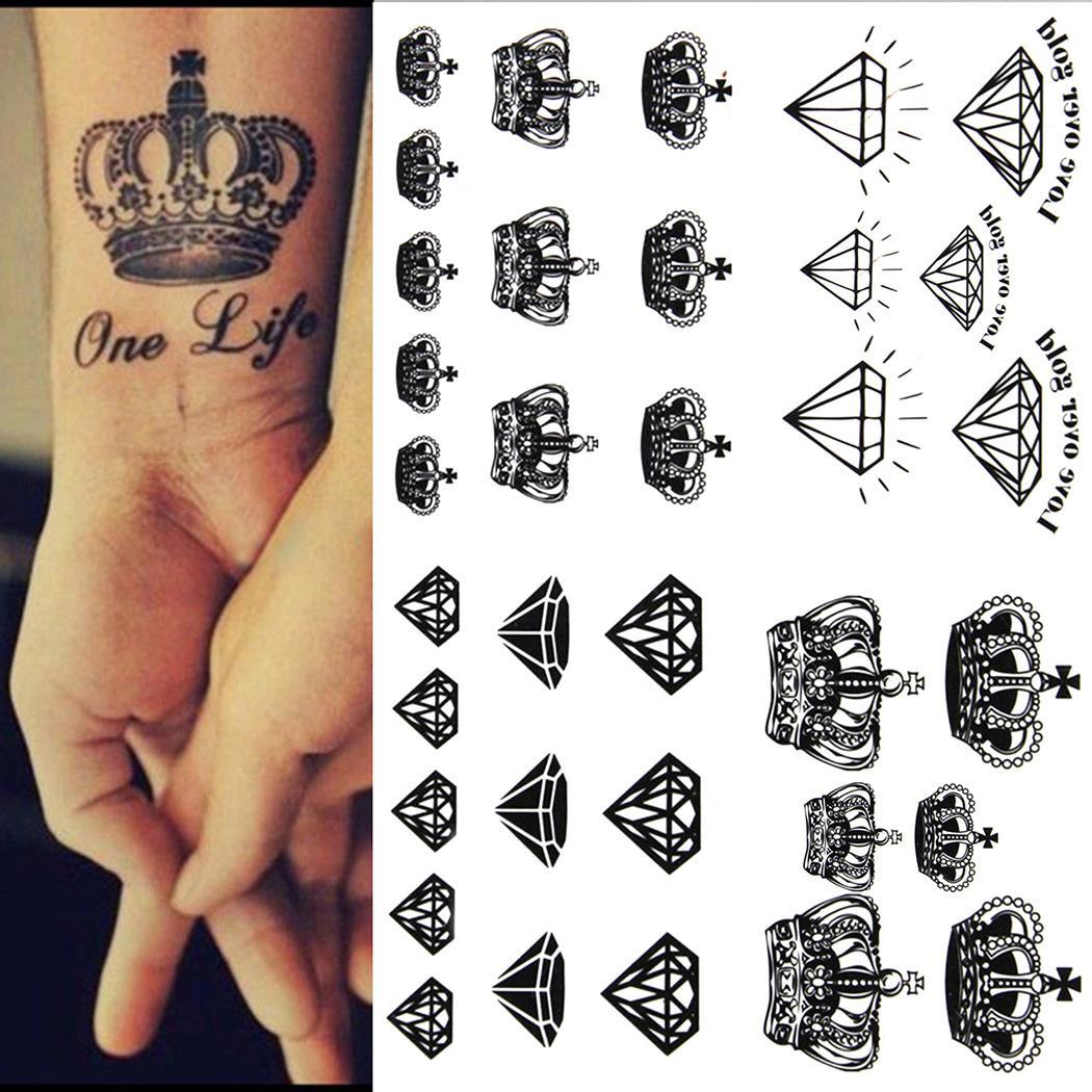 New Teens Guys Men Women Waterproof Crown,shaped Tattoo Stickers for  Diamond Arms Black Shoulders Chest